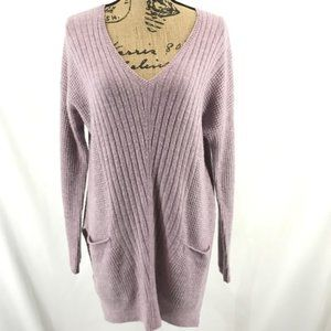 Caslon V Neck Grandpa Sweater Pockets Lavender